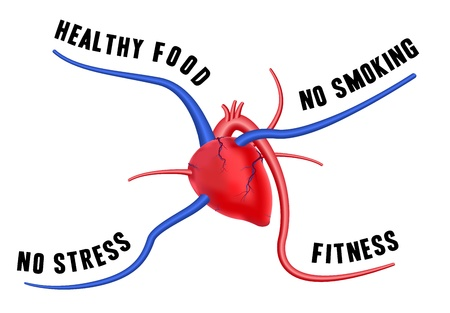 The diagram shows four tips for a healthy heart. The concept of long life