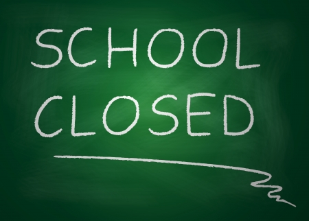 locked door: Illustration of blackboard on which is written with chalk school closed Stock Photo