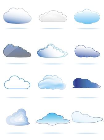 Verzameling van verschillende wolken van wit naar blauw Stock Illustratie
