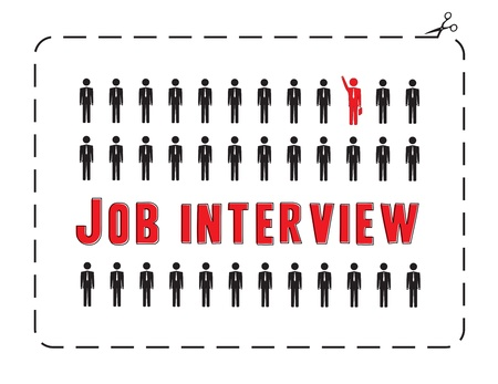 job interview: Illustrated poster for a job interview  The concept of competitiveness