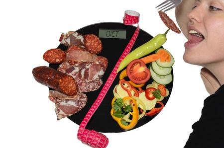 cintas metricas: En las escalas del cuerpo digitales se ordena la carne seca en la mitad y las verduras en la otra segunda mitad. Dos mitades están separadas por el metro de medición. La opción es seguir una dieta o no. Foto de archivo