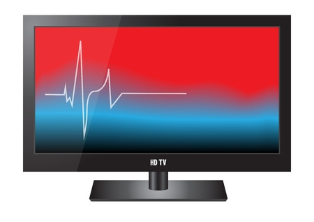 A large flat screen on white  Colorful display shows a heartbeat