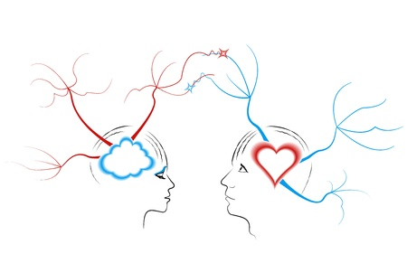 Abstract drawing a young couple related thoughts  The concept of mind maps Illustration