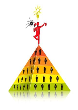 multilevel: Concetto di network marketing. Piramide come base di Multi Level Marketing.