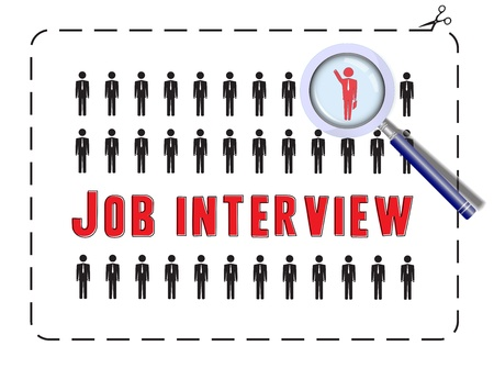interviewing: Illustrated poster for a job interview  The concept of competitivness and uniqueness