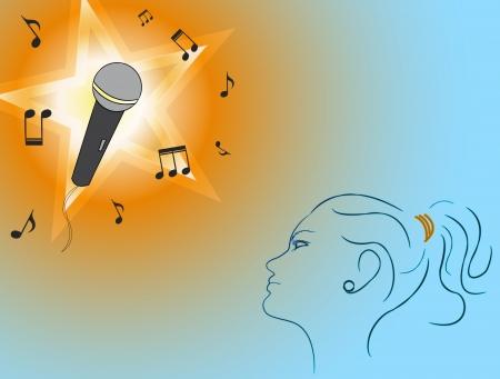 Een jong meisje wil een populaire muziek-ster te worden. Stock Illustratie