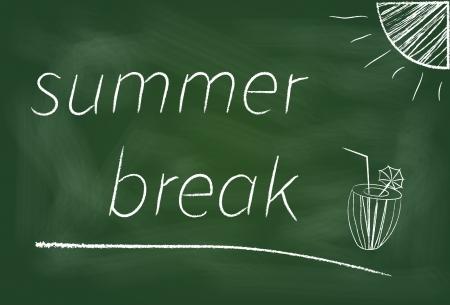 De start van de zomervakantie werd geplaatst op het bord. Stockfoto