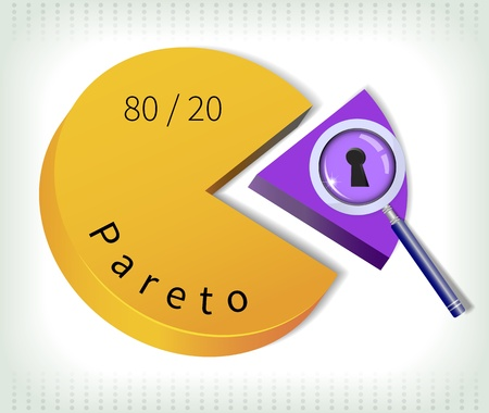 Pareto principle - the key twenty percent is under magnifying glass  Vector