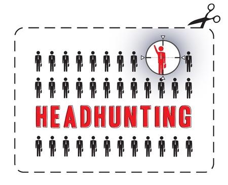 Geïllustreerde poster voor een headhunting Het concept van de uniekheid
