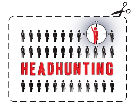 headhunting: Illustrated poster for a headhunting  The concept of uniqueness