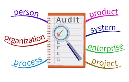 evaluating: Audit evaluation area in the mind map  Illustration