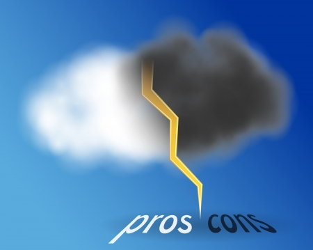 Pros and cons inside cloud  One half of the cloud is white and other half is black rainy  Vector