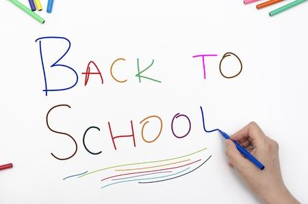 Terug naar school geschreven op papier met kleurrijke viltstift Stockfoto