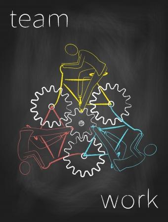 Drie fietsers werken samen als een team. Abstracte tekening op blackboard.
