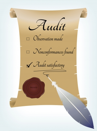 conformance: Old fashioned audit report written in feather on parchment   Illustration