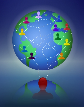 multi level: Network marketing is based on the transfer of ideas and information  Drawing represents a concept of worldwide network or multi level marketing