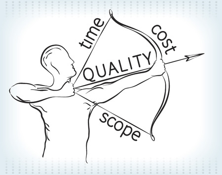 Archer holds the bow that represents project management triangle. Illustration
