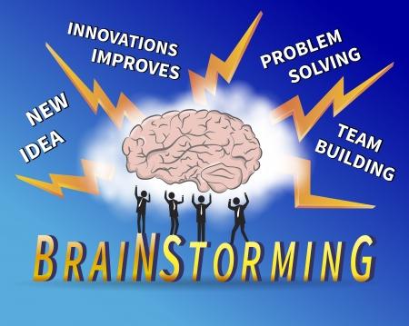 Management team brainstorm om een oplossing voor een probleem te vinden. Stock Illustratie