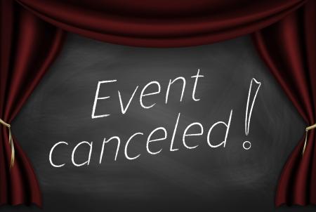 """Bijschrift """"event geannuleerd"""" geschreven op het bord met stadium gordijnen. Stockfoto"""