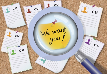 headhunting: Caption  We want you  on the board with a lot of CVs  The concept of uniqueness