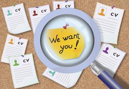 empleo: Leyenda Te queremos en el tablero con un montón de CV El concepto de singularidad Foto de archivo