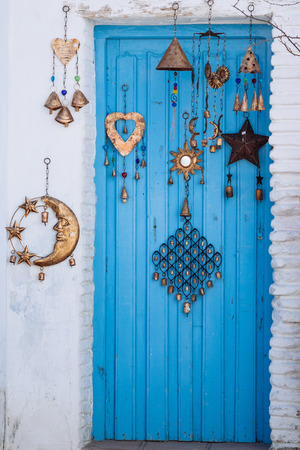 closed club: Blue wood door Mediterranean architecture from