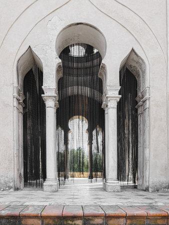 """Monastery of Santa Maria de las Cuevas. La Cartuja, Sevilla, Spain. Olaf Nicolai  """"black pearls curtain """" 2004. Produced for the one contemporary art biennial of seville"""