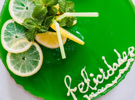 gelatin: Gelatin mojito cake with lime and peppermint