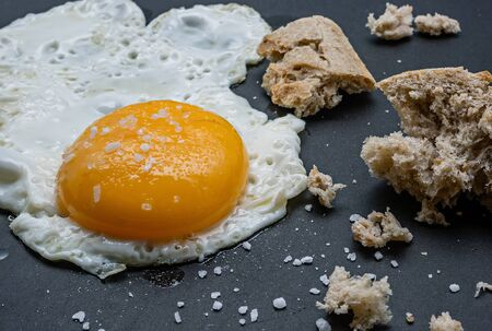 teflon: Close up view of the fried egg on a frying pan