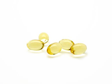 nutritional therapy: evening primrose oil pills isolated Stock Photo