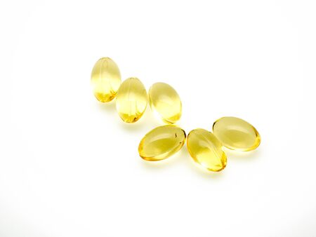 primrose oil: evening primrose oil pills isolated Stock Photo