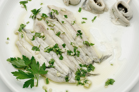Marinated anchovies in vinegar and olive oil Stock Photo - 41674086