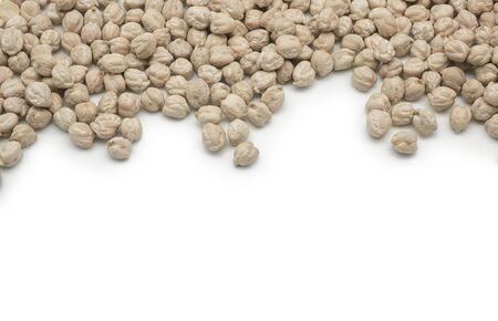 scattered: Scattered chickpeas of white background