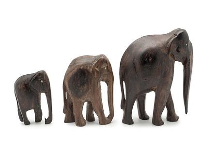 ebony: Ebony elephants isolated on white background