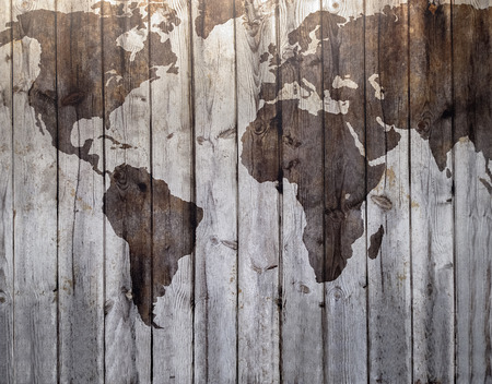 World map drawn on canvas wood effect Stock Photo