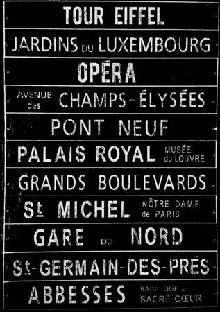 famous places: Plastic sign written with famous places Paris