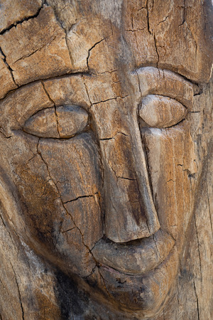 face close up: Close up of face carved in wood