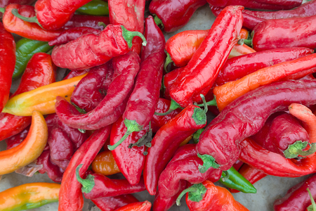ecological: Ecological red peppers background Stock Photo