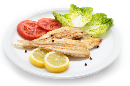 Grilled vegetables and wedge sole. Spanish sole fish