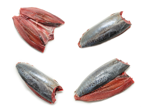 animal blood: Collage of Raw and fresh mackerel. Spanish mackerel Caballa Stock Photo