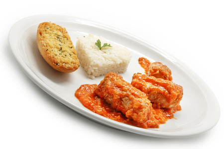 tomato catsup: Mackerel in tomato sauce with rice Stock Photo
