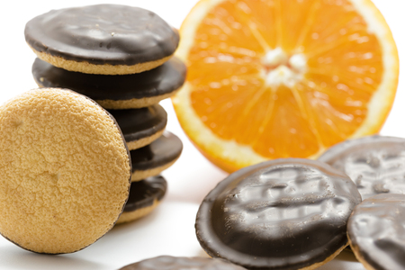 chocolate biscuit: Delicious Jaffa Cakes. Cookies covered with dark chocolate and filled with orange marmalade. Stock Photo