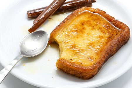 lent: Traditional Spanish torrijas (French toasts). Dessert of Lent and Holy Week Stock Photo