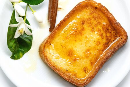 toast: Traditional Spanish torrijas (French toasts). Dessert of Lent and Holy Week Stock Photo