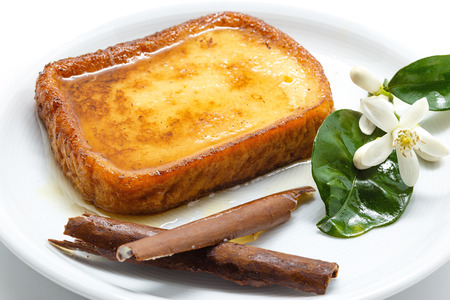 holy week: Traditional Spanish torrijas (French toasts). Dessert of Lent and Holy Week Stock Photo