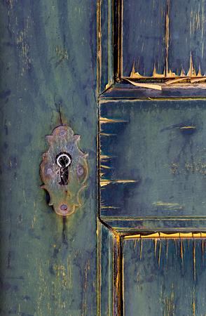 crossbars: Ancient lock on door in Mertola, Portugal. Colors of Portugal Series