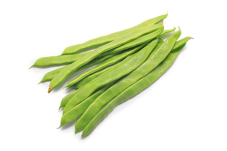 snap bean: Green beans handful isolated on white background