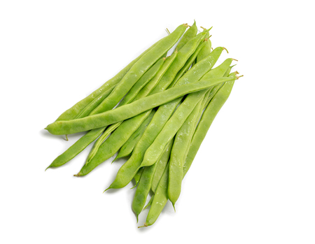 Fresh flat green beans isolated on white Stock Photo