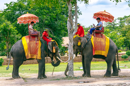 ancient elephant: Ayutthaya, Thailand - July 27, 2014: Tourists on an ride elephant tour of the ancient city at Wat Yai chaimongkol in Ayutthaya, Thailand Editorial