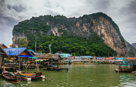 Floating Koh Panyi settlement muslim fishing village built on stilts. Phang Nga Bay, Krabi, Thailand. Editorial